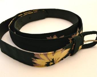 Green Flowered Vintage Women's Belt