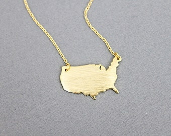 Gold USA Charm Necklace America Continental Necklace Dainty and Stylish Necklace Birthday Gift Gift for Friends