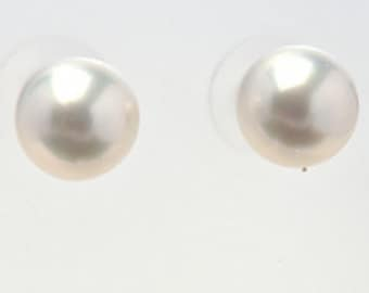 Round, White, South Sea Pearl Stud Earrings