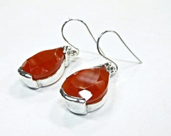 Handmade 925 sterling silver earring with red chalcedony 2 inches