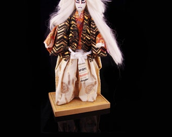 Vintage Kabuki Doll White Lion Actor doll Kagamijishi lion spirit Japan doll oriental doll Asian doll
