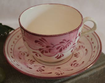 Very Old English Staffordshire Tea Cup and Saucer decorated with Hand Painted Pink Accents