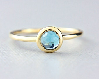 Blue Topaz Ring 14k Yellow Gold Rose Cut Blue Topaz Gold Ring Made in Your Size Alternative Engagement Ring Blue Topaz Engagement Ring