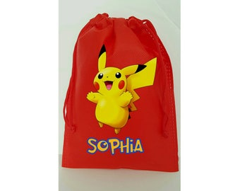 """Pokemon Party, 10 Favor Bags Pokemon Themed Party, Drawstring Bags 6.5"""" x 9"""" inches"""