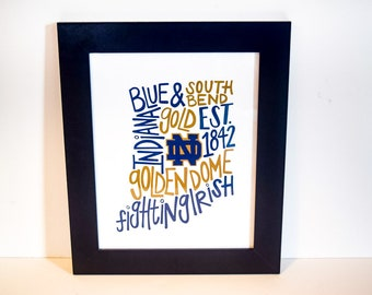 University of Notre Dame | Print | Graduation Gift | Dorm Room Decor | Wall Art | Typography | Gifts Under 25