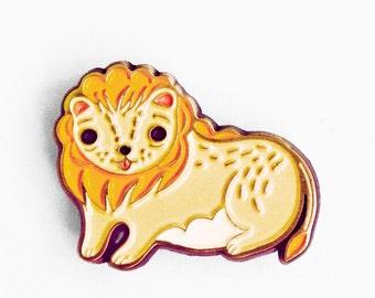 Enamel pin, lion hat pin, lion pin, leo zodiac, lion jewelry, leo star sign, lion enamel pin zodiac, flair, pin game, lion brooch etsyshop