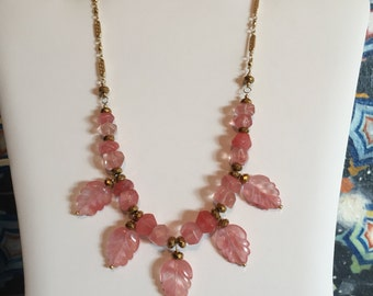 Cherry Quartz Leaf Necklace