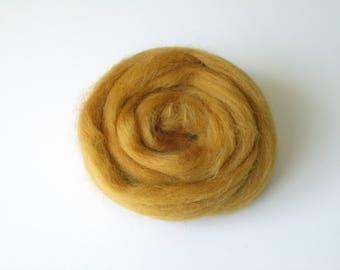 25g felting or spinning carded Merino worsted color ochre
