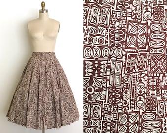 vintage 1950s skirt | 50s Hawaiian tiki print skirt