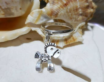 Sterling Silver 3D Rocking Horse Charm Dangle Ring 2.51 grams Size 6