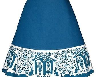 scherenschnitte skirt - teal blue - bavarian weather house and bunnies print