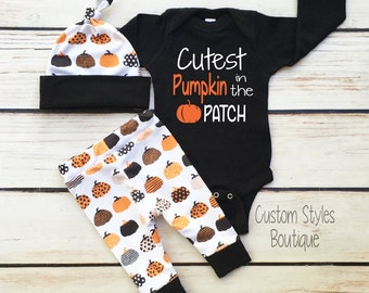 Baby Boys First Halloween Outfit, Black Infant Bodysuit, Leggings & Hat With Pumpkins, Baby Boy Halloween Outfit Set, Baby Boy, Hospital Set