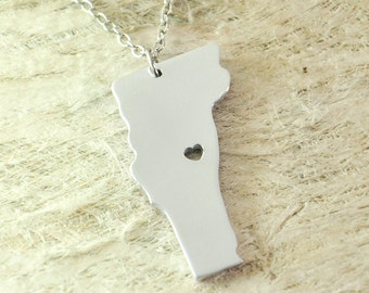 Vermont Necklace alloy 925 sterling silver necklace heart necklace State Necklace State Charm Map necklace Map Jewelry