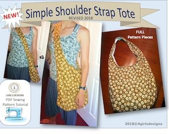 INSTANT DOWNLOAD Simple Shoulder Strap Cross Body Tote HOBO Bag Sewing Pattern-Revised
