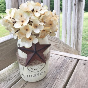 Rustic Mason Jar, Barn Star Decor, Primitive Decor, Painted Jars, Country  Home
