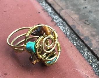 Natty by Nature Brass Wire Wrap w/ beading
