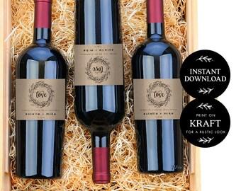 Wedding Wine Labels Editable pdf Template, INSTANT DOWNLOAD, Wedding Wine Bottle Labels, Wine Label Printable, Wine Label Template - Audrey