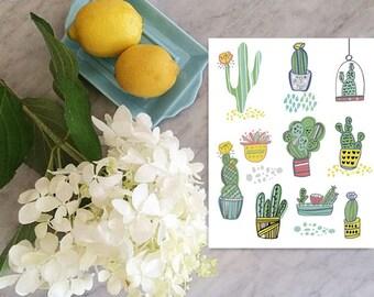 Succulent art print cactus print
