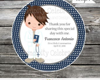 First Communion boy  tags stickers, Confirmation, Religious, Set of 12 Personalized Favor Tags, Stickers, Party Favors, mi primera comunion