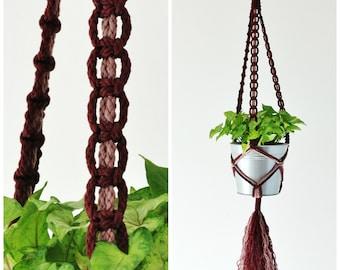 Macrame Plant Hanger // Hanging Planter // Plant Holder // Burgundy and Rose // #4