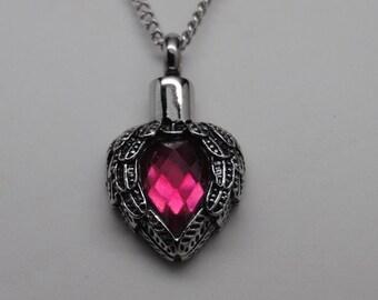 Pink Tourmaline CZ Angel Wing Cremation Urn Necklace || Alternative October Birthstone