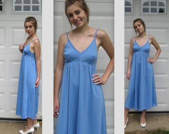sky blue dress . 70s summer dress . blue dress .  blue summer dress . bullet bust dress . baby doll dress