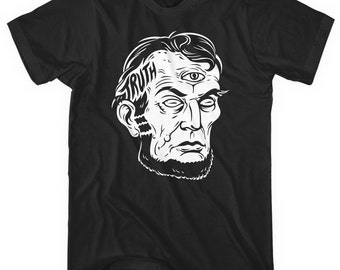 Truth T-shirt - Men and Unisex - XS S M L XL 2x 3x 4x - Illustration, Abe Lincoln, Conspiracy, Illuminati Tee - 4 Colors