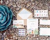 Custom Desert Watercolor Wedding Invitation: Plants and Succulent Inspired