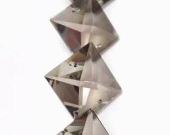 5 Satin Grey 22mm Square Asfour Full 30% Lead Crystal Chandelier Prism Suncatcher Pendants