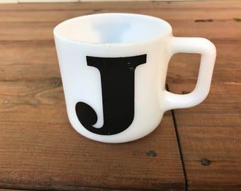 80s Monogram Mug Black Letter J Vintage White Milk Glass coffee cup teacup mug eighties 1980s 80s pyrex fire king anchor hocking