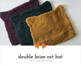 Knit Hat Pattern, Cat Hat Pattern, Double Brim Hat Pattern, Knitting Pattern, Women's Hat Pattern, Cute Kitty Hat Pattern, Pussyhat Pattern