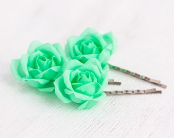 71 Mint wedding, Hair pins flowers, Flower pins, Rose pins, Flower hair accessories, Green wedding, Flower clips, Flower barrette, Hair clip