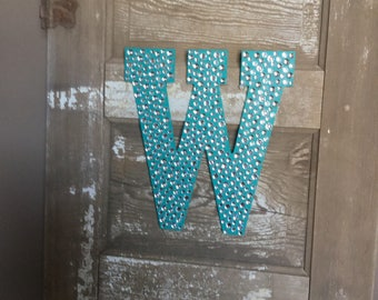 "Sparkle Turquoise Bling 13"" Decorative Wall Letters, Girls Bedroom Decor, Wedding Decorations, Photo Prop"
