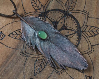 Feather and green jade electroformed copper pendant