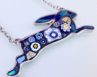 Hare Pendant - China Blue
