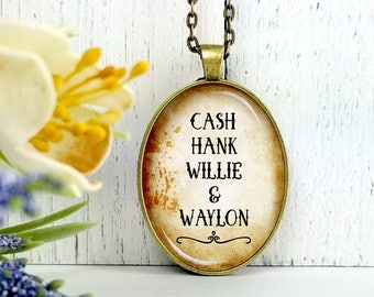 Cash Hank Willie And Waylon- Cowgirl Collection-Large Oval- Glass Bubble Pendant Necklace