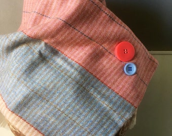 Pastel pink and blue neck scarf