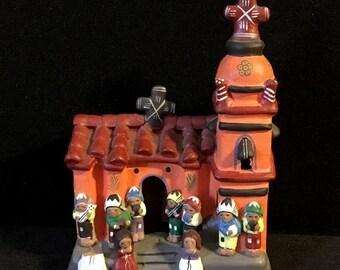 Cruelest Month Sale Peruvian Ceramic Ayacucho Church with Musicians Folk Art Pottery
