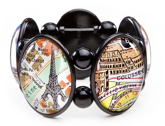 Paris Rome Five-Cameo Stretch Bracelet