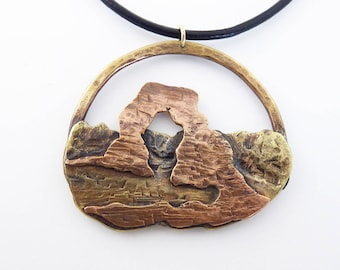 Delicate Arch Brass and Copper Pendant, Leather cord, natural formation, Arches National Park, mountain necklace