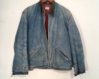 Vintage 50's Big Mac Sanforized Penney's Denim Jacket Chore Coat Medium Blanket Lined Union Made