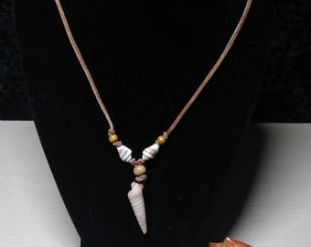Real Shell and Leather Cord Necklace