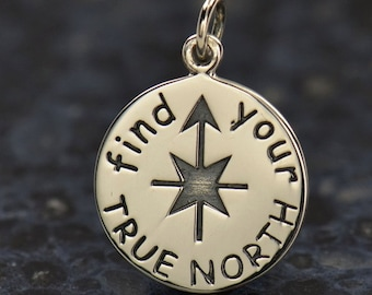 Find Your True North Necklace - 925 Solid Sterling Silver Charm - Insurance Included