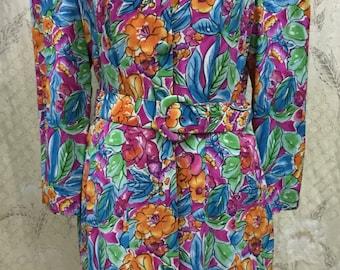 Vintage 1980s Floral Print Silk Dress, Size 12