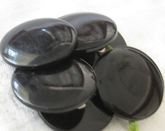 Set of 7 VINTAGE Black Plastic Sewing BUTTONS