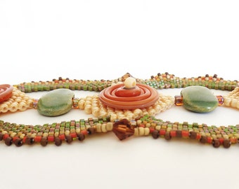 Autumn Disc Beadweaving Bracelet