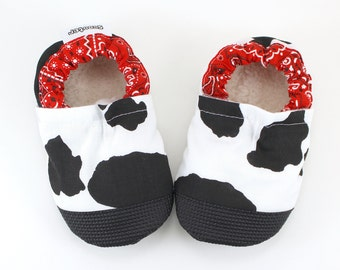 cow baby shoes cow slippers cow booties black and white cow clothing cow baby clothes red bandana cowboy baby