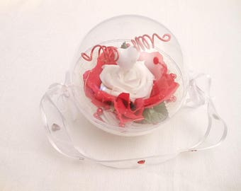 Wedding ring wedding ring bearer wedding ring holder red and white ball