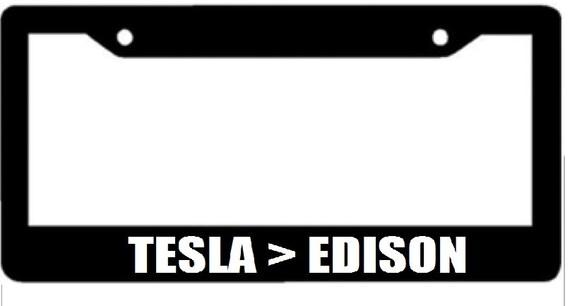 Tesla Edison Black License Plate Frame Electric Car