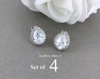 Set of 4 Stud Earrings CZ Bridal Earrings Wedding Stud Earrings Bridesmaid Earrings White Crystal Earrings Teardrop Earrings Gift for Her